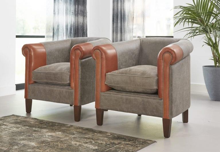 Delta-chesterfield-eigentijds-fauteuils-josh-grey-cognac-zijaanzicht-links
