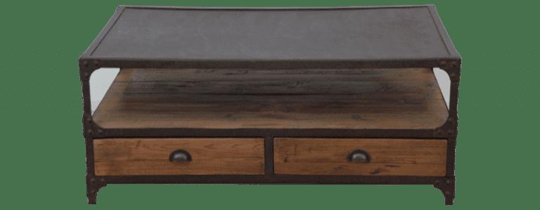salontafel hout metaal modern langwerpig lades