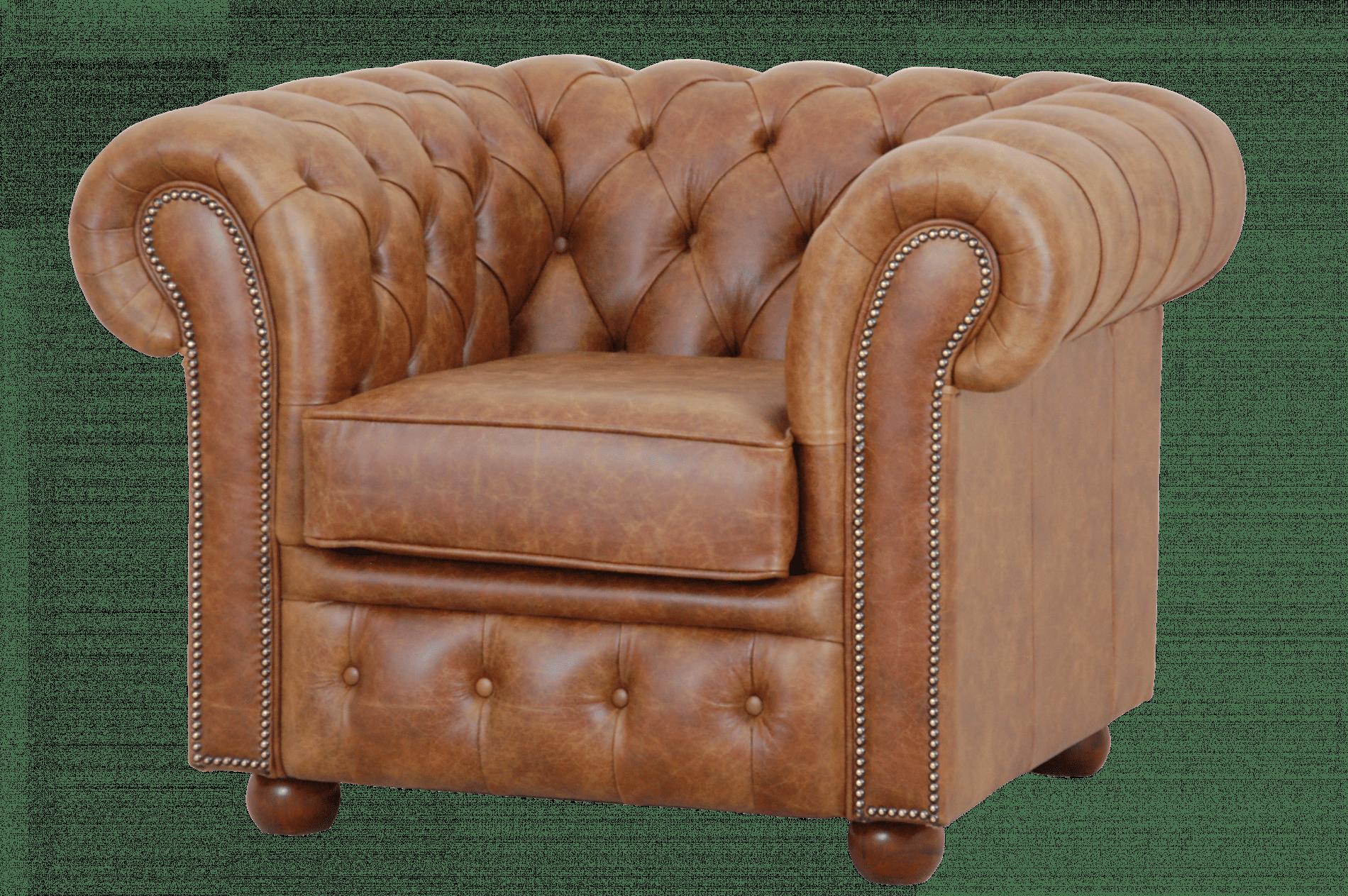 Een Sandhurst Lowback stoel in luxe leer cognac