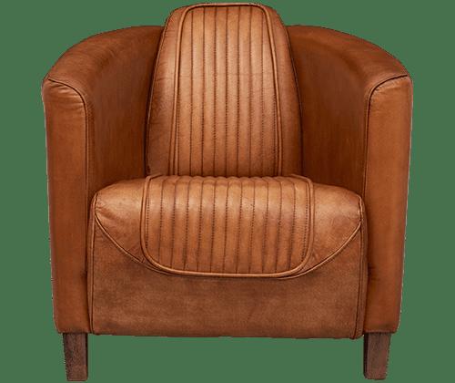 Delta-chesterfield-eigentijds-stoel-Rolf-cognac-vooraanzicht