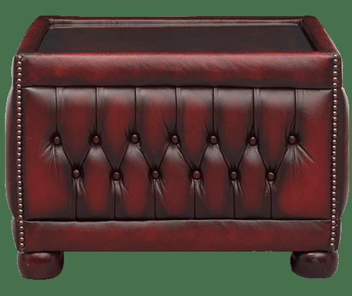 Delta-chesterfield-traditioneel-table-pouffe-glass-top-vooraanzicht-antique-red