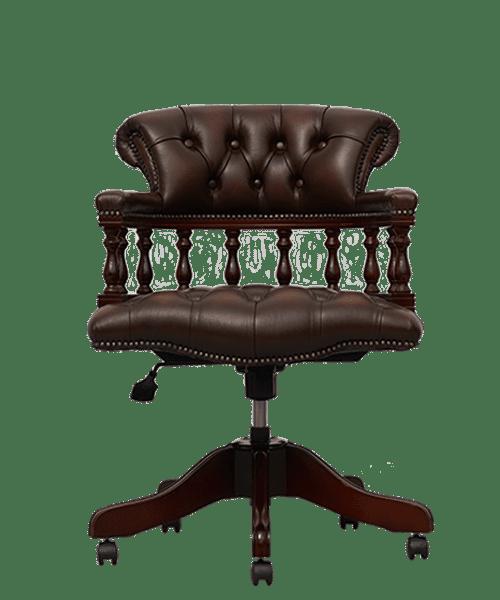 delta-chesterfield-bureaustoel-captains-swivel-ant-brown-vooraanzicht