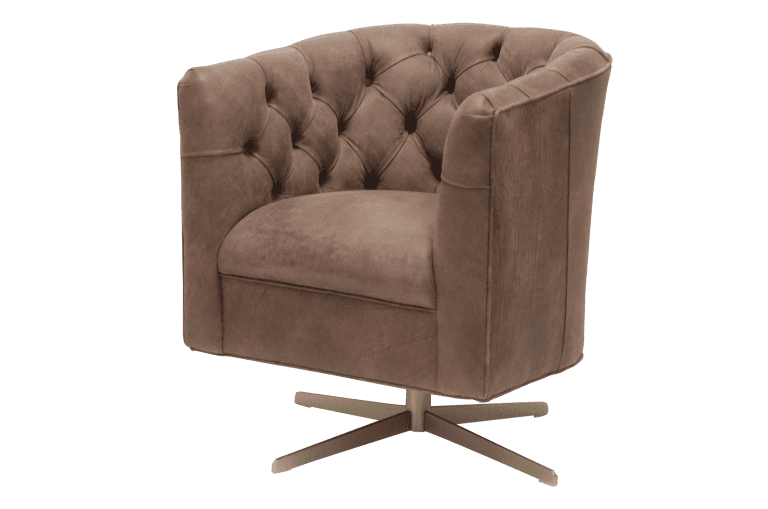 Delta-chesterfield-eigentijds-tub-chair-swivel-puttoned-back-trible-light-brown-zijaanzicht