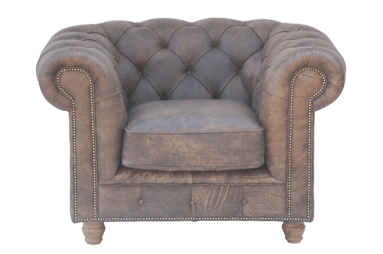 Traditioneel Engels chesterfield in vintage leer