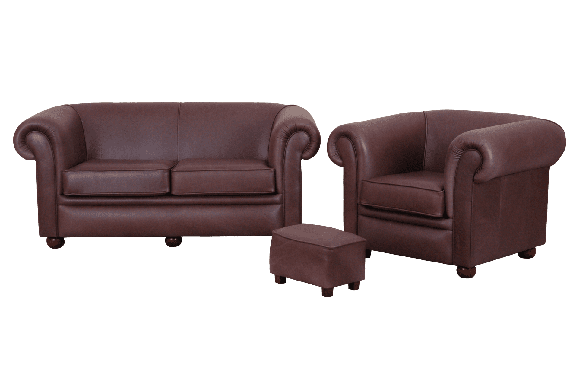 Nieuwe chesterfield Bolton 2,5-1-stool set in vintage leer