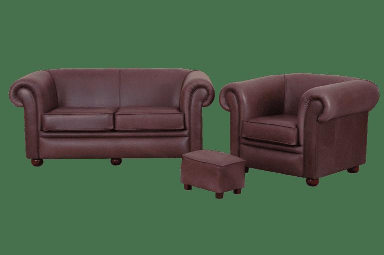 Nieuwe chesterfield Bolton 2,5-1-stool set in vintage leer