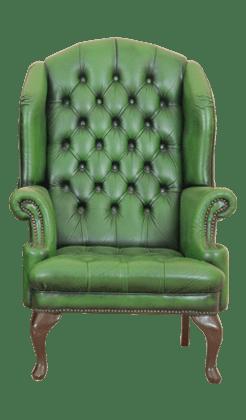 vintage groene chestefield oorstoel