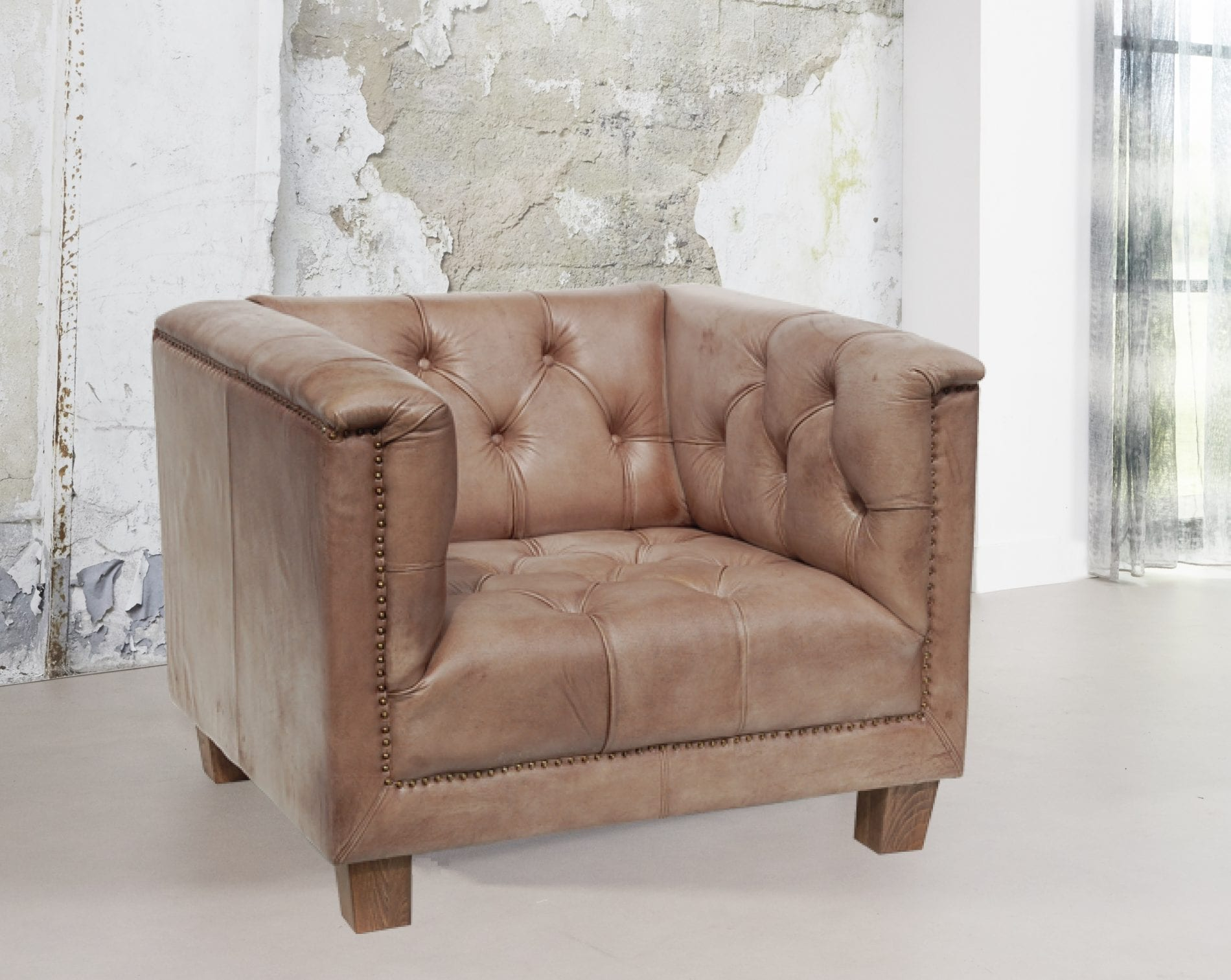 Boston fauteuil betonlook
