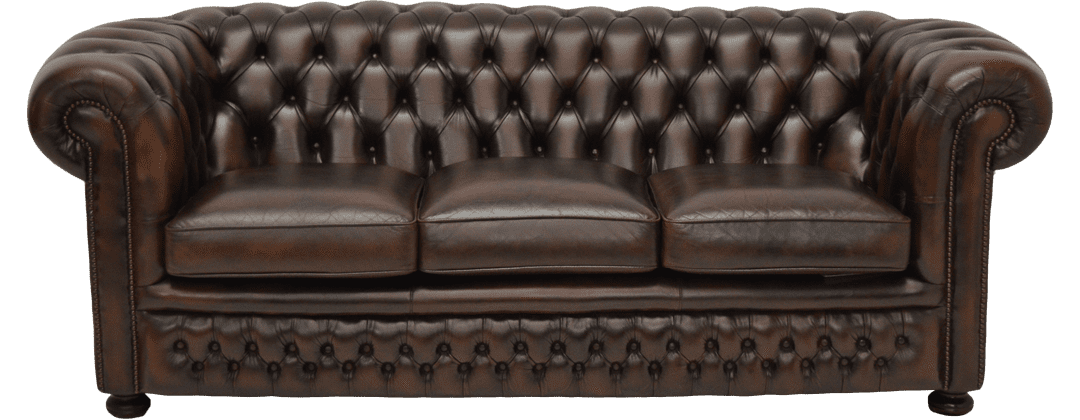 Traditionele drie zits chesterfield bank.